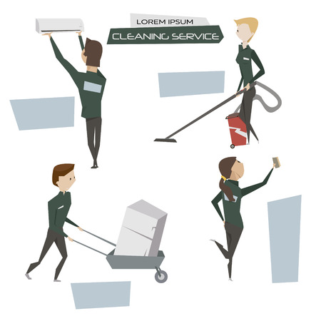 cleaning crew: Set cartoon cleaner people character vector illustration.Cleaning and utility service concept poster
