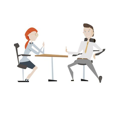 Man and woman in job interview vector illustration