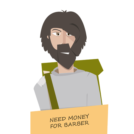 Cartoon man tramp with funny sign vector illustration