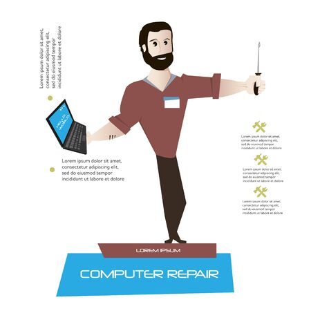 computer repair concept: Cartoon man character with laptop and tool vector illustration. Computer repair and support concept poster.