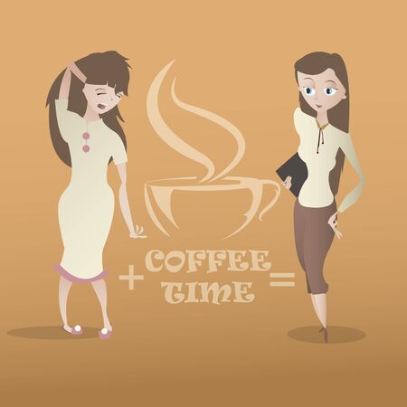 sleepy woman: Cartoon sleepy and cheerful young woman characters and coffee cup hand drawn emblem vector illustration Illustration