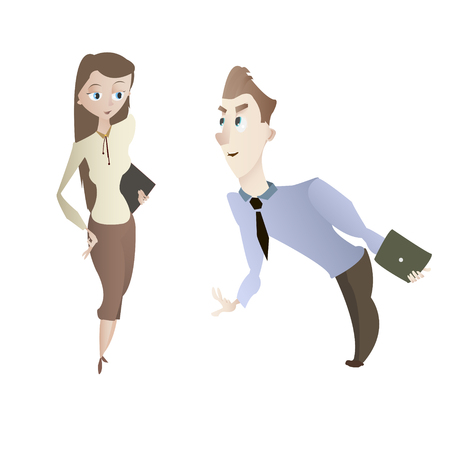 woman tablet: Cartoon young business woman and man office characters vector illustration Illustration