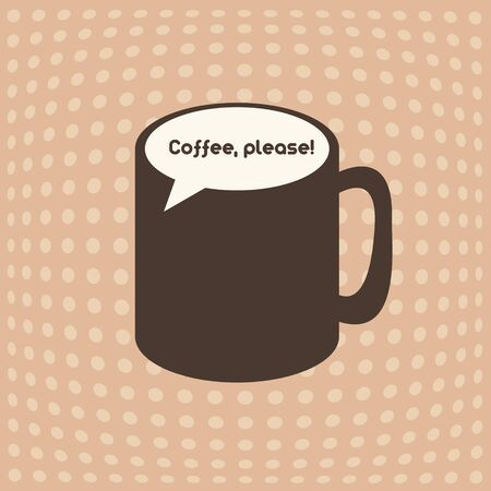 callout: Vintage coffee cup emblem with speech bubble callout vector illustration Illustration
