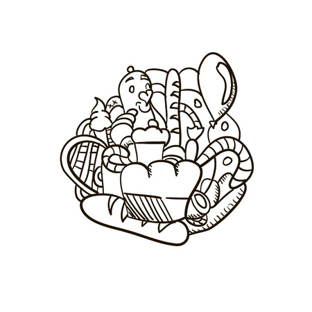 french board: Fresh bakery simple hand drawn doodle vector illustration