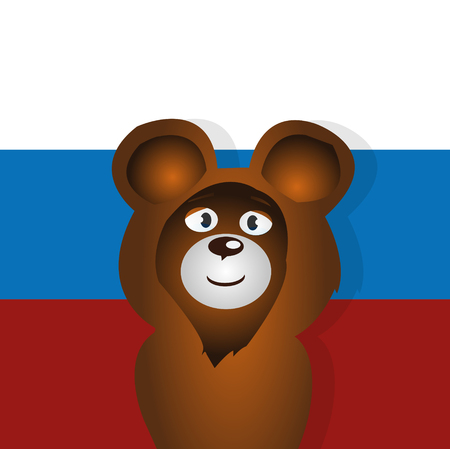 simbol: orso felice fumetto simbolo russo illustrazione vettoriale