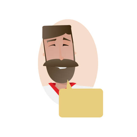 callout: Cartoon happy smile man character with speech bubble callout vector illustration