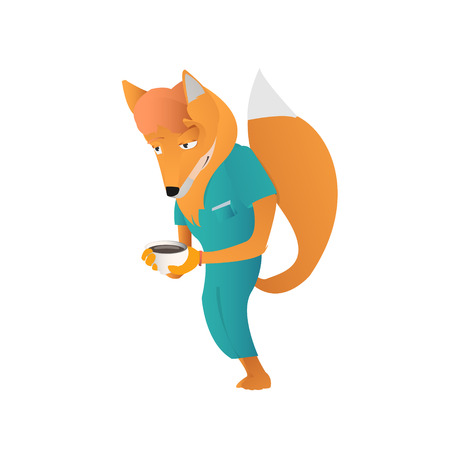 anthropomorphic: Cartoon anthropomorphic young fox man  with cup of hot drink vector illustration