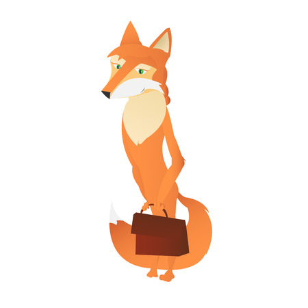 anthropomorphic: Cartoon beautiful anthropomorphic young fox woman vector illustration