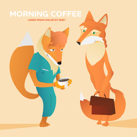 anthropomorphic: ?ouple anthropomorphic foxes cartoon vector illustration. Morning coffee concept poster
