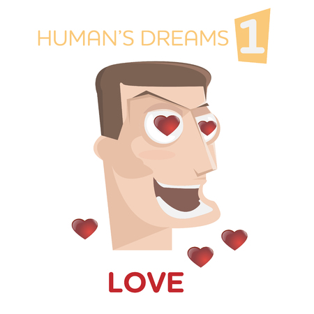 Cartoon happy man character with love heart in eyes vector illustration. Humans dreams concept