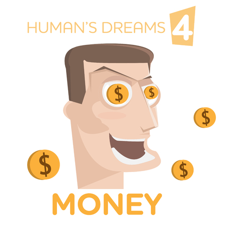 gleeful: Cartoon happy man character with money in eyes vector illustration. Humans dreams concept Illustration