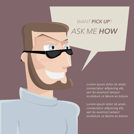 assured: Cartoon successful pickuper man vector illustration. Pick up girl training creative design poster