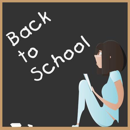 cartoon school girl: Cartoon young girl with book on a blackboard. Back to school concept vector illustration Illustration