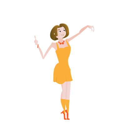 Cartoon happy beautiful woman with pointing up gesture and take or give something isolated over white vector illustration