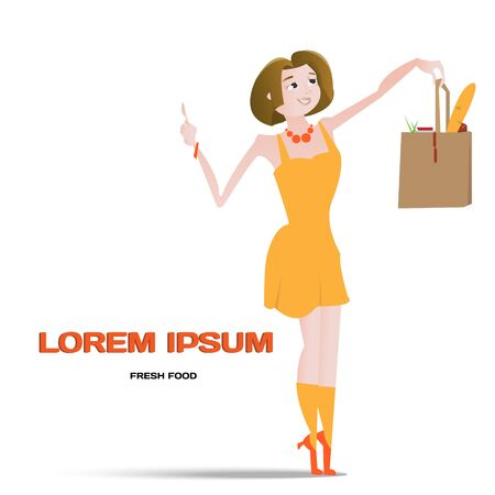 smiled: Cartoon beautiful smiled woman with fresh food bag vector illustration Illustration