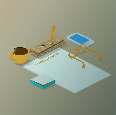 a place of life: Isometric business still life work place with set subjects and beautiful light effect vector illustration