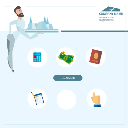advertising agency: Creative landing page web site design vector illustration. Can be use for travel agency advertising.