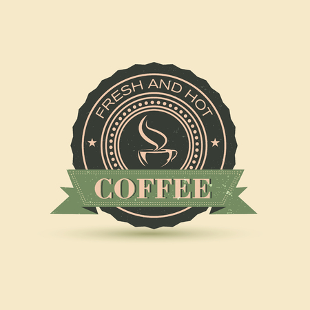Fresh and hot coffee label or logo vintage retro design vector illustration