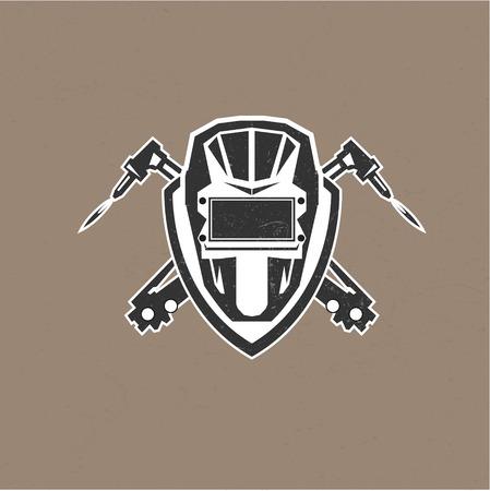 metales: logotipo de diseño retro de la vendimia con las máscaras de la ilustración del vector del soldador