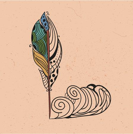 writting: Retro vintage design art writting pen vector illustration