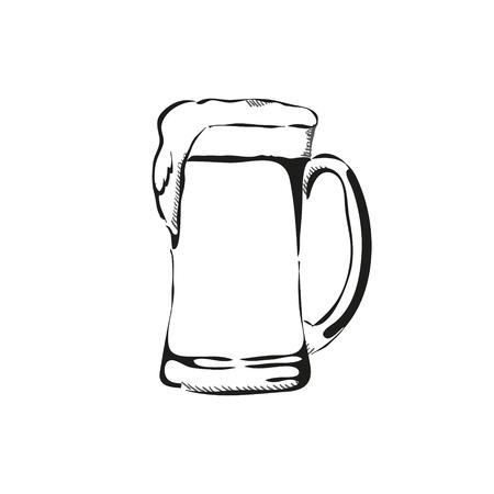 stein: Outline hand drawn beer mug vector illustration