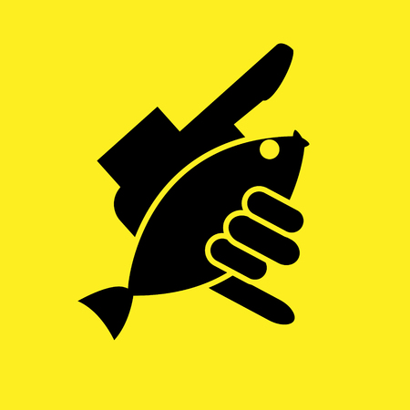 outline fish: Outline fish in hand logo. Shaka and fish vector illustration.