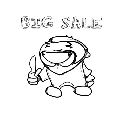 Cartoon hand drawn man and shopping sale banner doodle design vector illustration