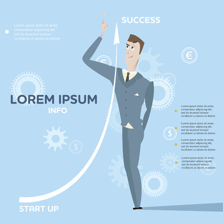 Cartoon young business man character and move up arrow vector illustration. Success concept poster. Can be use for infographics design elements