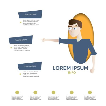 Cartoon young man character infographics design element layout vector illustration