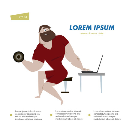 Cartoon bodybuilder man character with laptop vector illustration. Online fitness training concept poster. Can be use for infographic design element. 向量圖像