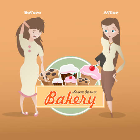 sleepy woman: Cartoon sleepy and cheerful young woman characters and fresh bakery emblem vector illustration