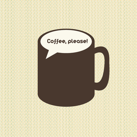 Vintage coffee cup emblem with speech bubble callout vector illustration 向量圖像