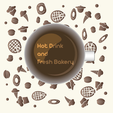 Creative hot drink cup top view and fresh bakery background vector illustration