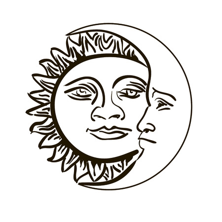 Sun and month emblem isolated over white vector illustration