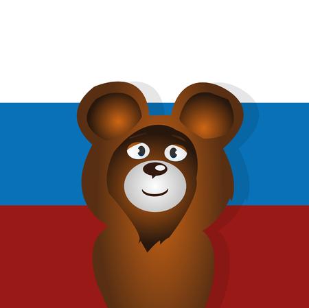simbol: Happy cartoon bear russian simbol vector illustration