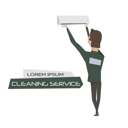 customer support: Cartoon young man installation of air conditioners vector illustration