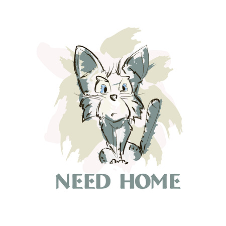 lost in space: Simple hand drawn sketch kitten vector illustration. Cat need home concept poster.
