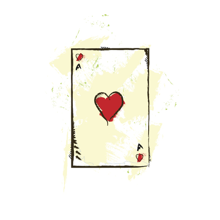 ace of hearts: playing  tramp card hearts ace art vector illustration