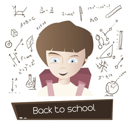 Cartoon young boy with school bag and hand drawn science background vector illustration. Back to school concept poster.