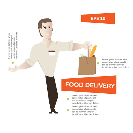 Cartoon young happy man with package with food vector illustration. Express food delivery concept poster. Can be use for infographics design