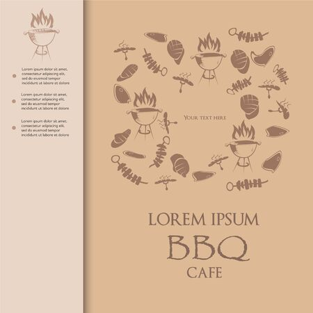 Modern paper cut bbq cafe menu cover with hand drawn simple food icons vector illustration 向量圖像