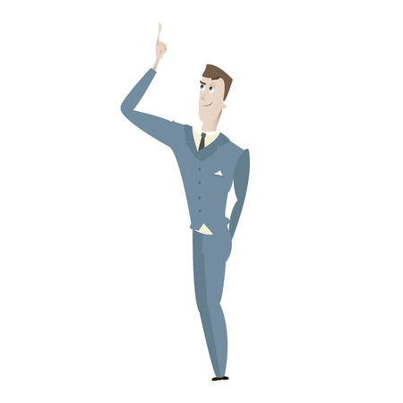 Cartoon young business man character vector illustration isolated over white 向量圖像