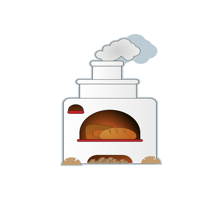 Cartoon hand drawn russian oven with bread vector illustration. Can be use for logo.