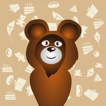 complimentary: Cartoon happy smile bear and celebration background vector illustration Illustration