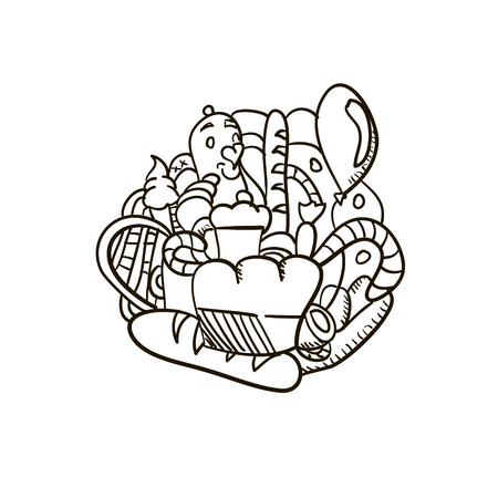 Fresh bakery simple hand drawn doodle vector illustration