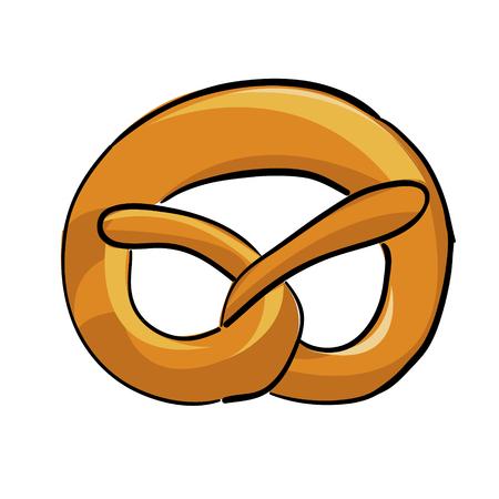 pretzel: Cartoon hand drawn pretzel vector illustration