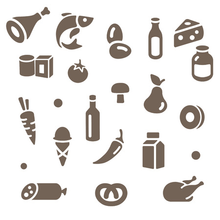 Outline simple food icons set vector illustration
