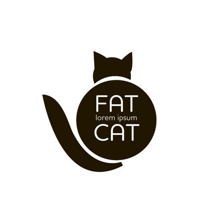 simple logo: Fat cat outline simple logo vector illustration
