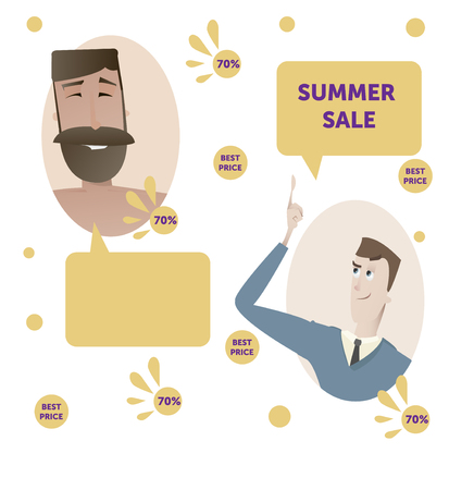 Summer sale concept poster with cartoon people characters vector illustration