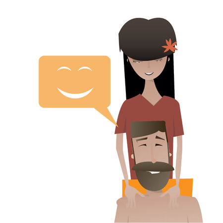 Cartoon happy beard man and beautiful young woman character vector illustration. Relax massage concept image.